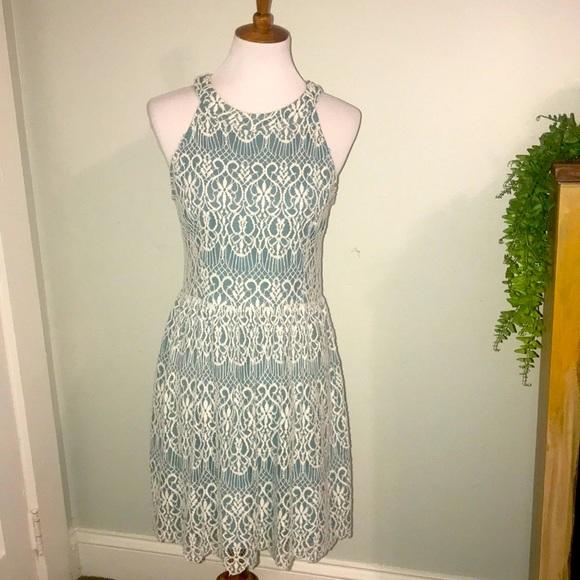 Alter'd State cotton lace over blue dress Sz L